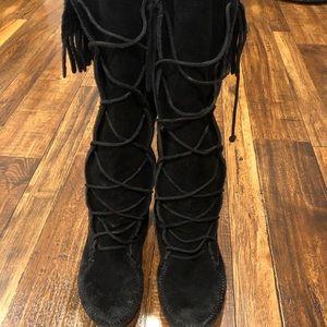 Minnetonka black knee high lace up boots